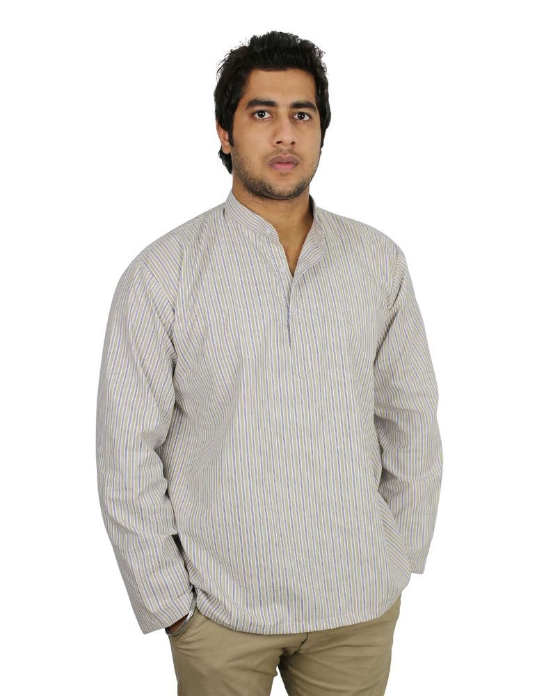 Polo Navy Blue Front And Back Embroidered Men`s Caftan Tops Male Cotton Ethnic Shirts For Summer Wearing