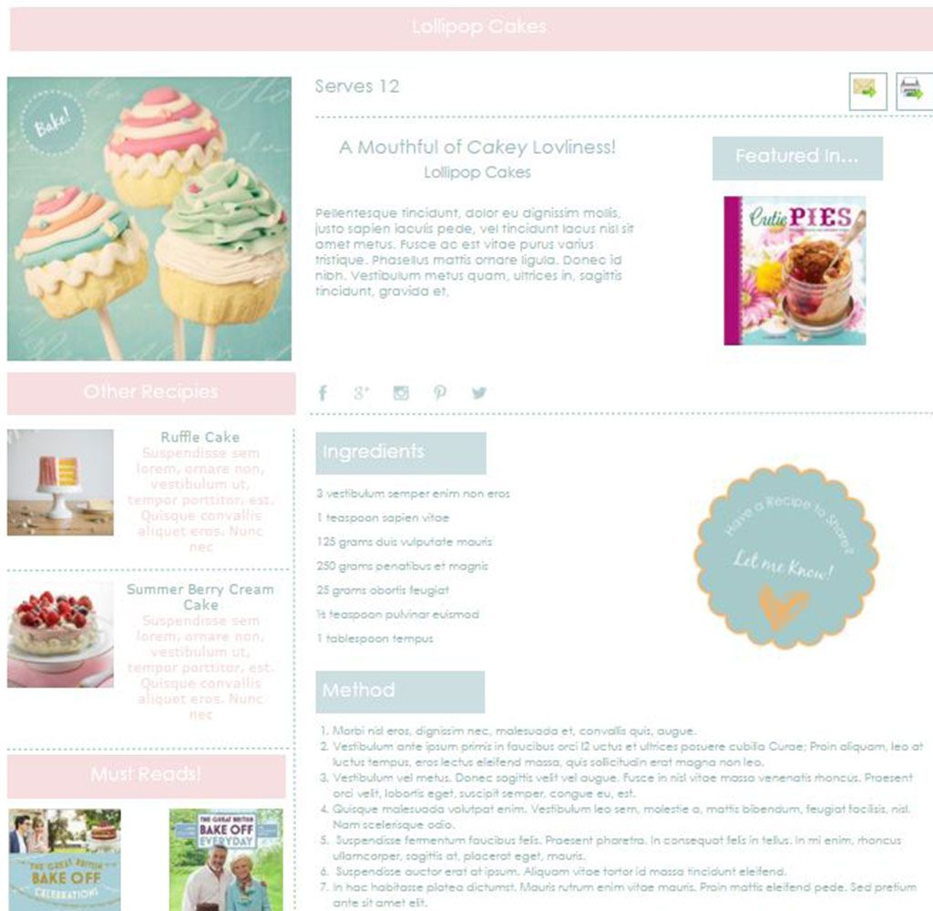 Martha\'s Craft Works Template Sample Traditional Recipe Page ...