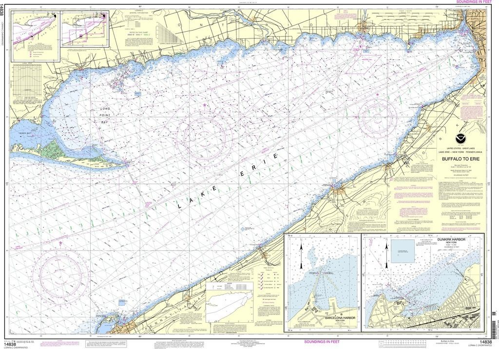 NOAA Nautical Chart 14838: Buffalo to Erie;Dunkirk;Barcelone Harbor