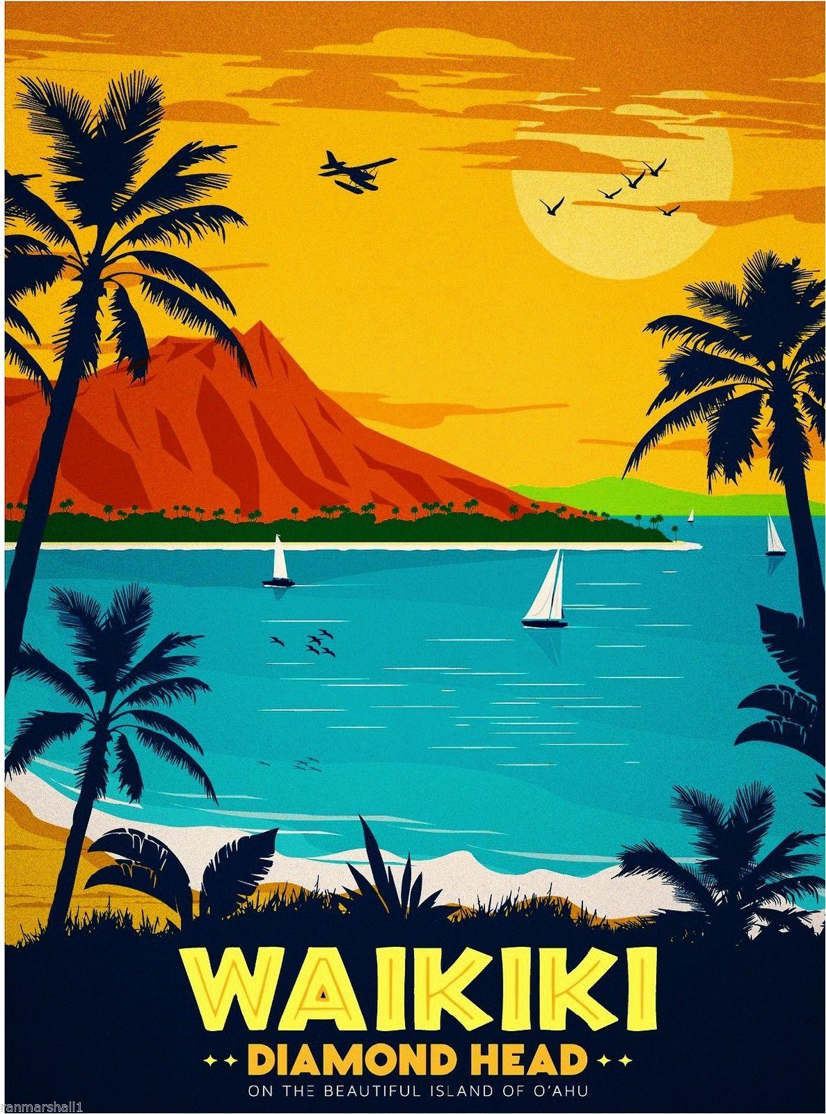 Waikiki Retro Travel Poster Vintage Travel Posters Travel Art