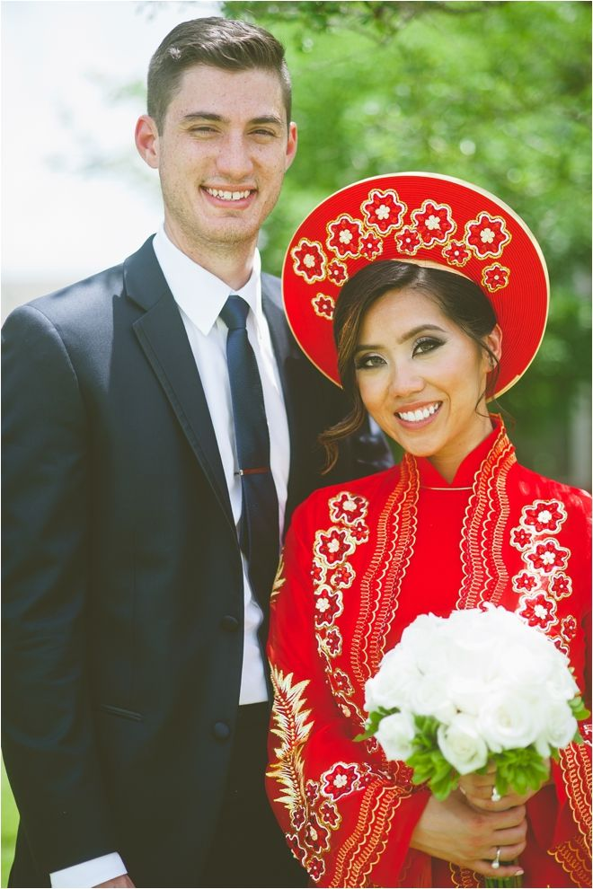 Traditional Vietnamese Bridal Outfit | Vietnamese Bride | Beautiful  Interracial Wedding | Photo: Kitty Sanchez Photography
