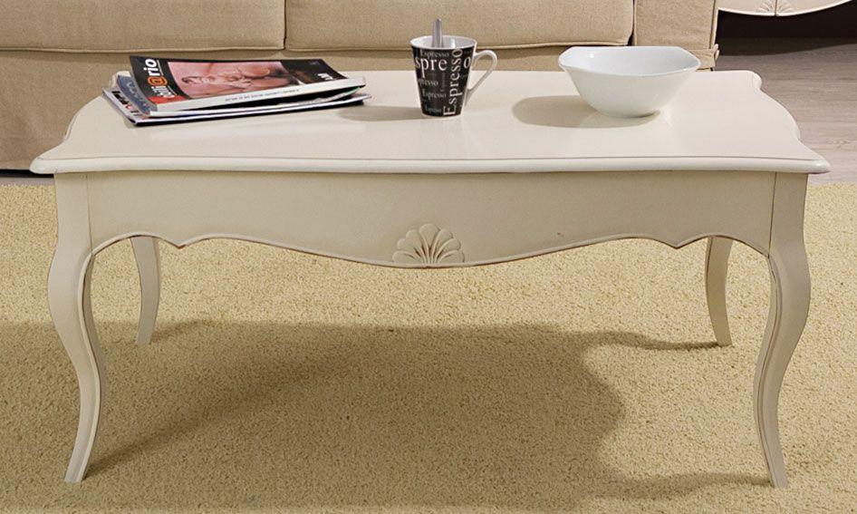 Mesa de centro blanca Vintage Paris   Material: Madera Tropical   Esta coleccion esta inspirada en el mueble clasico frances Louis XV. En su proceso de acabado artesanal, y con la finalidad de asemejar el transcurso del tiempo, se utiliza la tecnica del