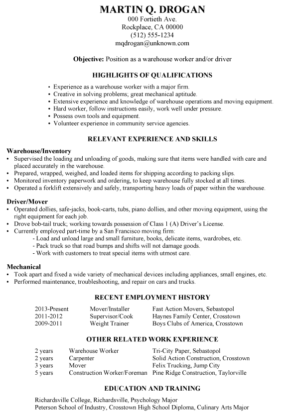Example of a functional resume for a warehouse worker or driver. An ...