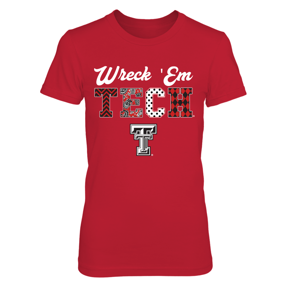 Texas Tech Red Raiders Patterned Letters Slogan