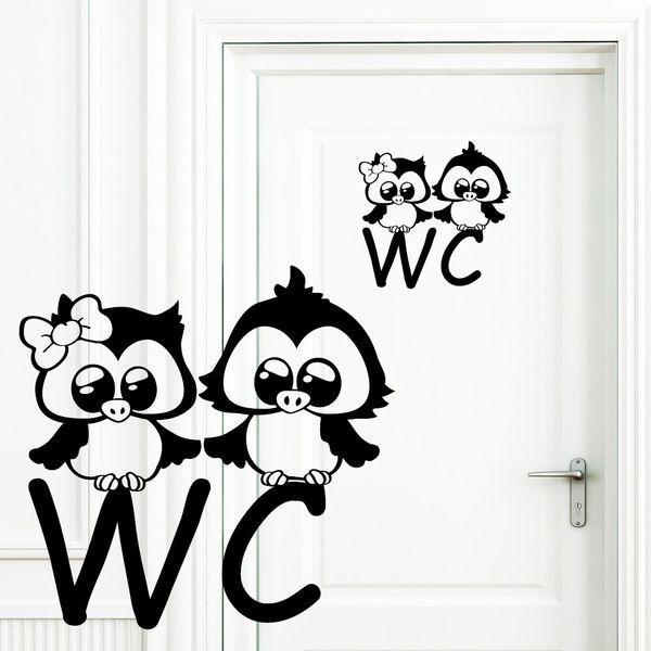 Wandtattoo WC Türaufkleber Eulen Badezimmer von wandtattoo-loft - wandtattoo für badezimmer