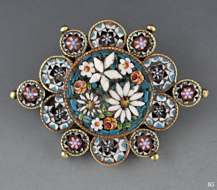 7a5e846f8 Antique Italian Micro-Mosaic Brass Pin/Brooch 1800s | Some Of My ...