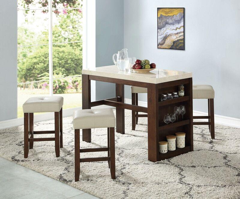 Acme 74760 62 5 Pc Avita Cherry Finish Wood Marble Top Counter