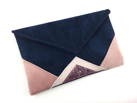 blue evening clutch bag navy and light pink powder and. Black Bedroom Furniture Sets. Home Design Ideas