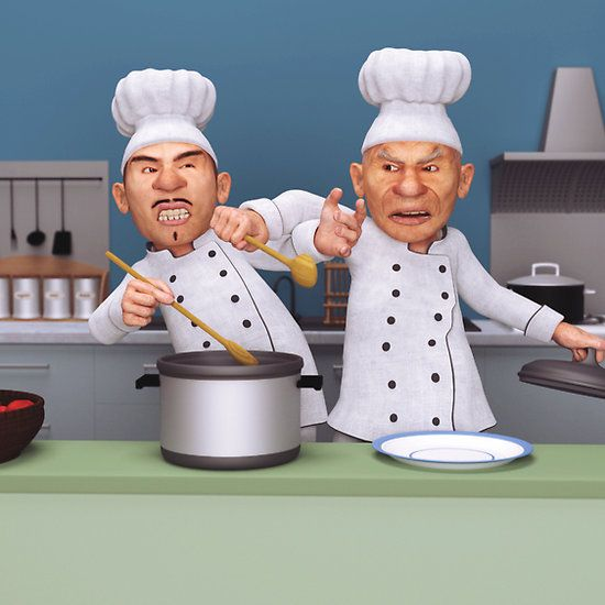 Too Many Cooks Two Crazy Chefs Fighting Over Who Cooks The