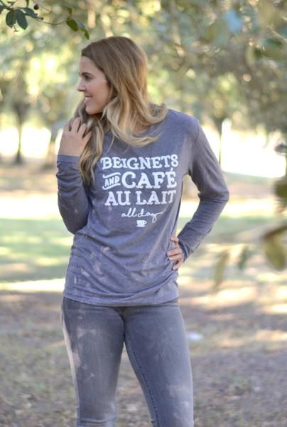 Louisiana T-Shirt Beignets and Cafe Au Lait in a Long Sleeve Crew