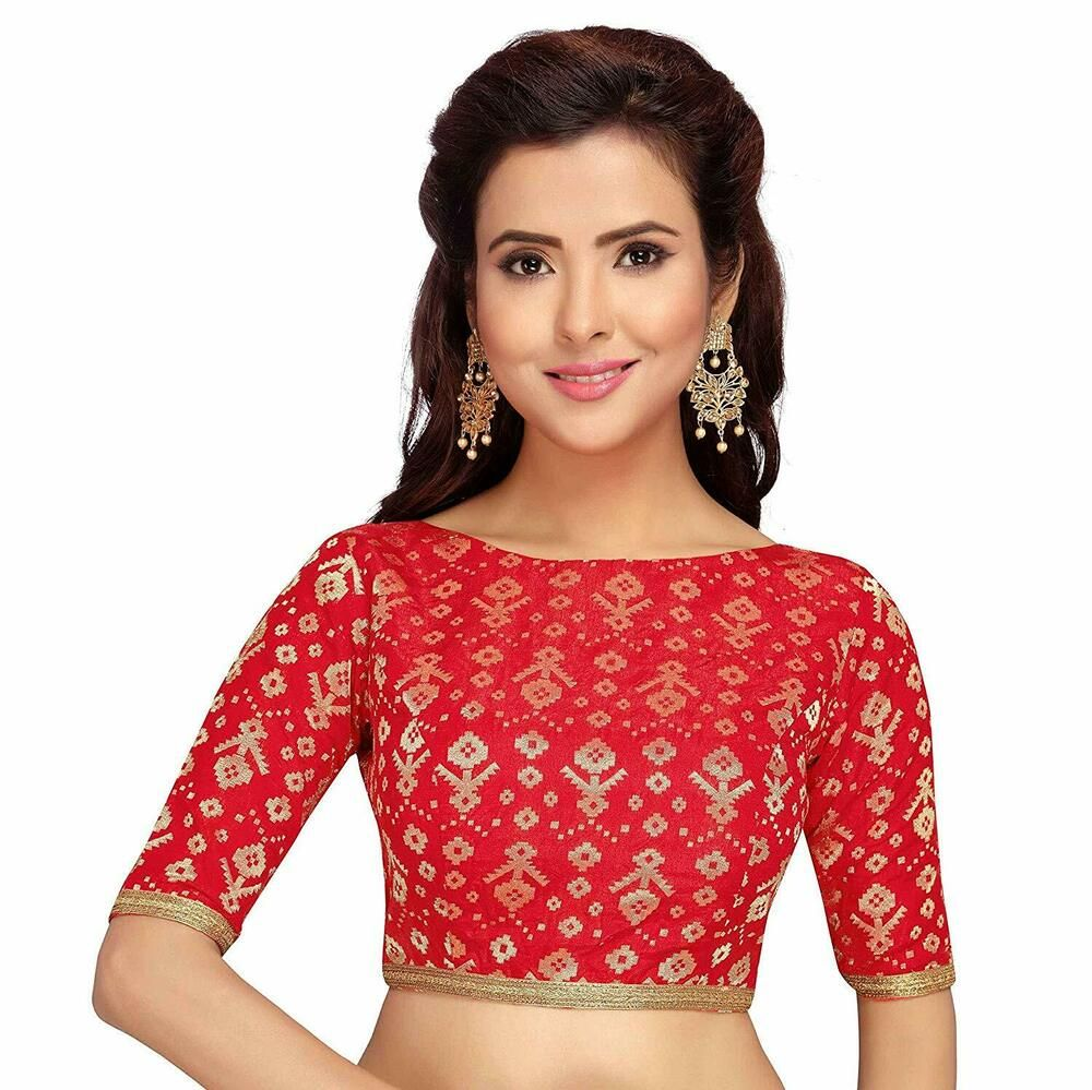 fa1b079105 Brocade Red New Readymade Boat Neck Blouse Saree Choli Sari Tunic Top  Wedding #fashion #clothing #shoes #accessories #womensclothing #tops (ebay  link)