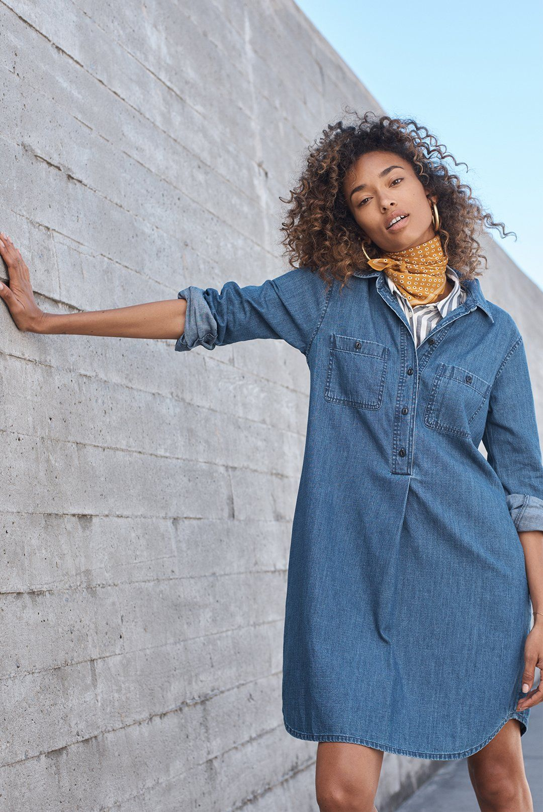 3ed07917f84 madewell denim popover shirtdress worn with a bandana + central shirt.