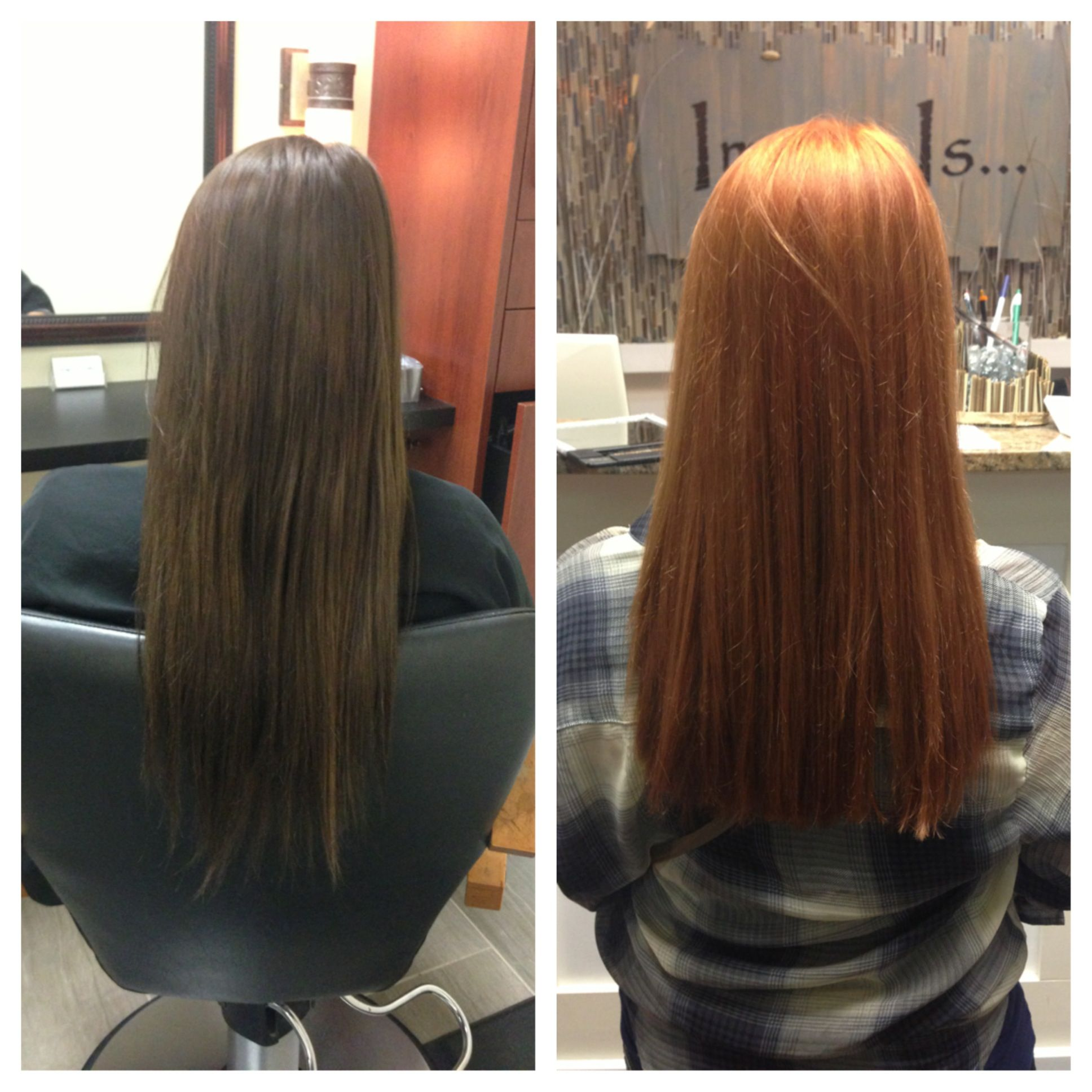 Before And After Brunette To Copper Red Red Brown Hair Color