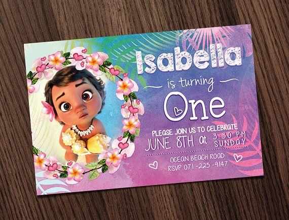 Moana Birthday Invitation Party Disney First