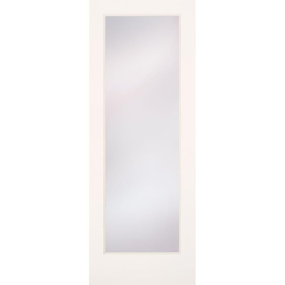 Feather River Doors 32 in. x 80 in. Privacy Smooth 1 Lite Primed MDF ...