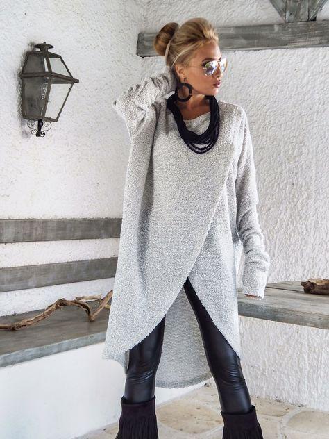 Winter Wool Tunic / Boucle Winter Warm Tunic / Winter Blouse / Plus Size Top / Long Sleeve Wool Top / Oversize Loose Blouse / #35153