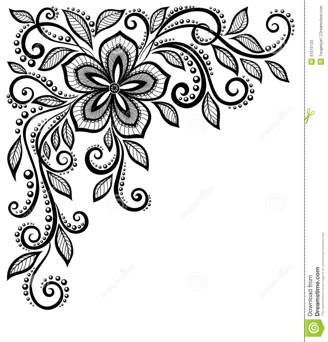 Beautiful Black And White Lace Flower In The Corne Tattoos 3