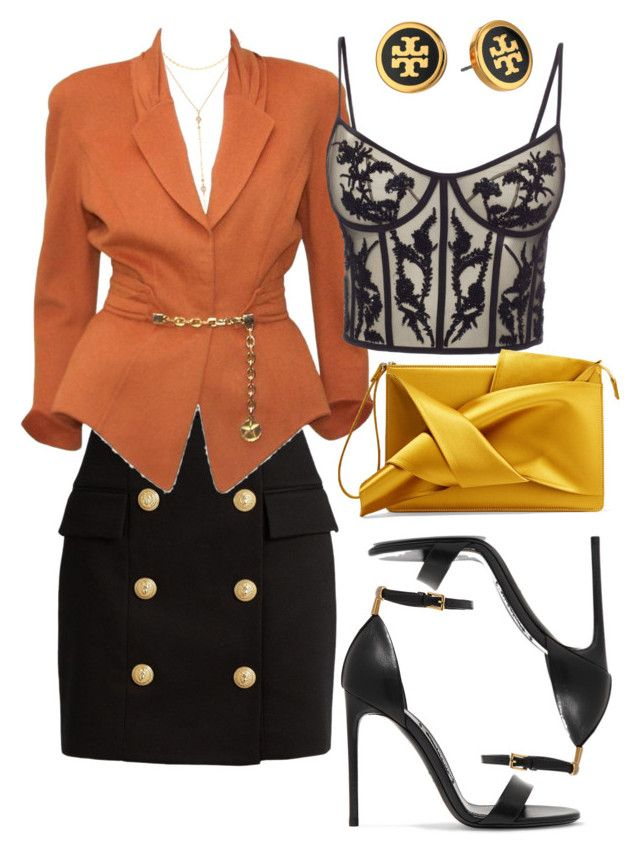 """Hill."" by vcvintage on Polyvore featuring Fragments, Balmain, Thierry Mugler, Alexander McQueen, N°21, Tom Ford and Tory Burch"
