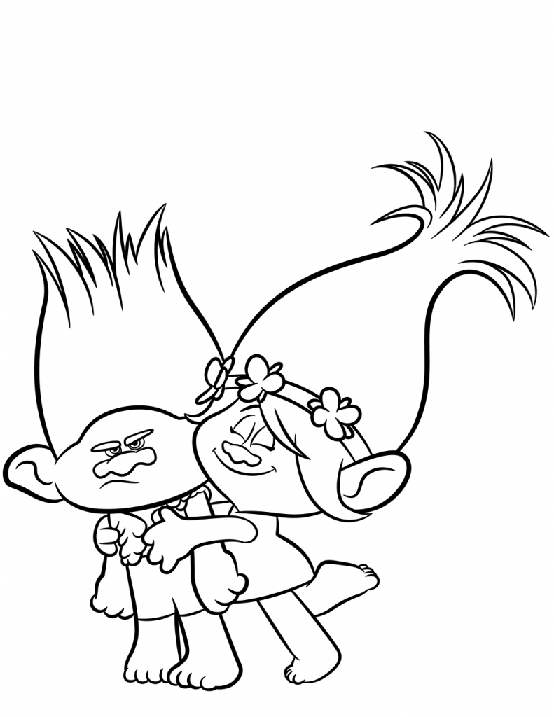Branch and Poppy Trolls Coloring Page | Basteln | Pinterest ...