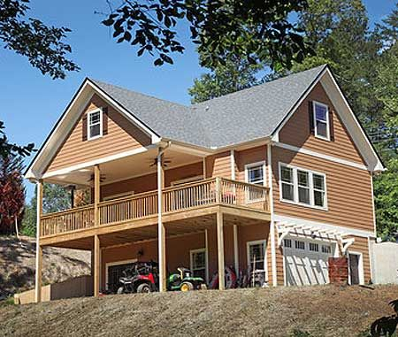 Vacation cottage with drive under garage 24114bg 1st for Cottage house plans with garage