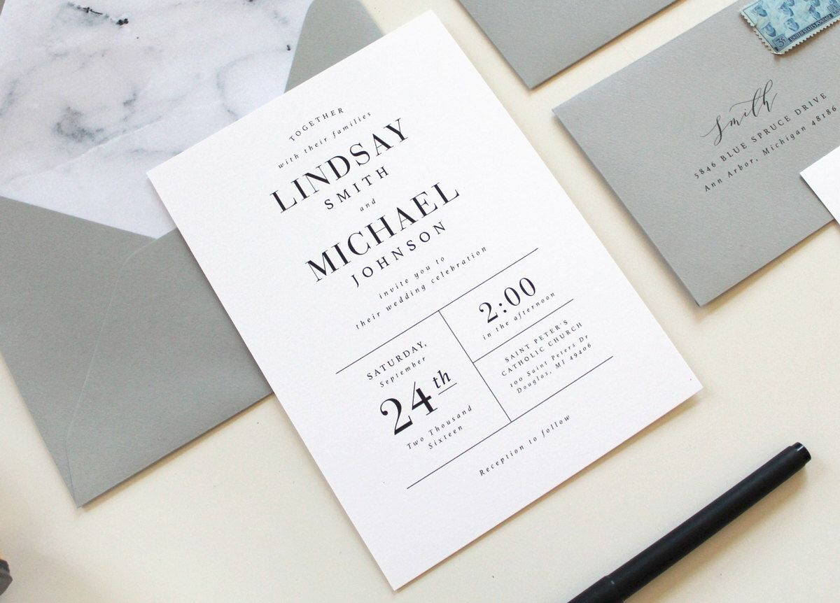 Modern Wedding Invitations Marble Wedding Invitation