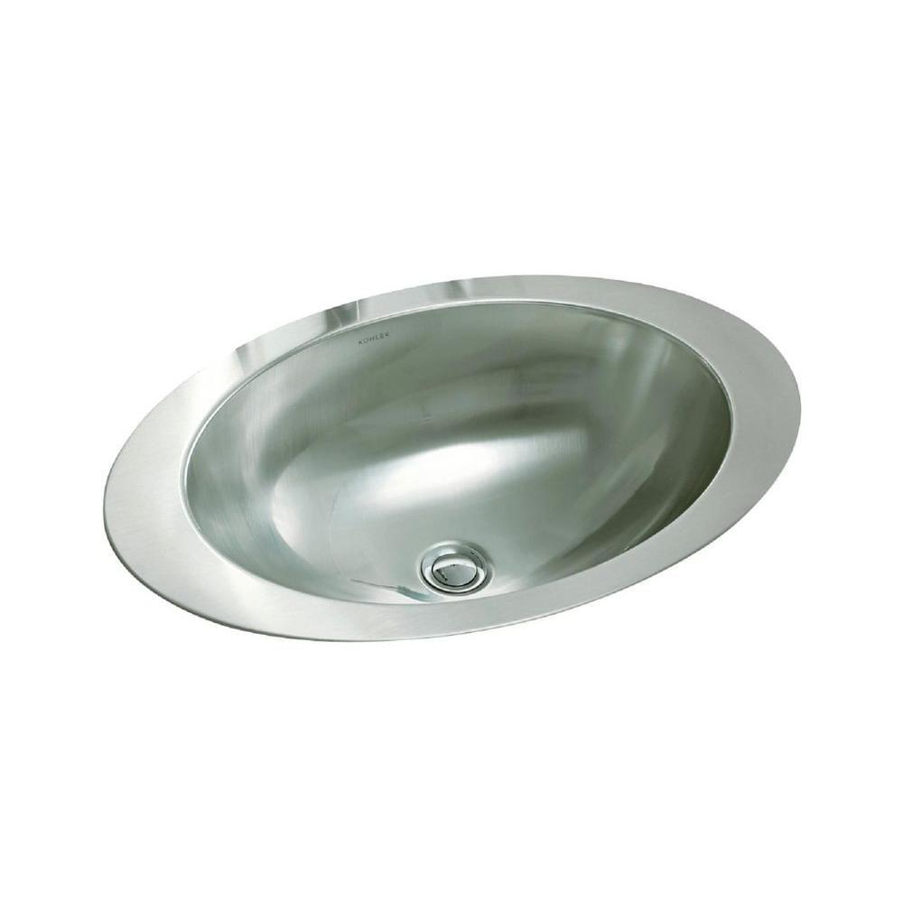 Kohler Rhythm Drop In Oval Stainless Steal Bathroom Sink In Mirror