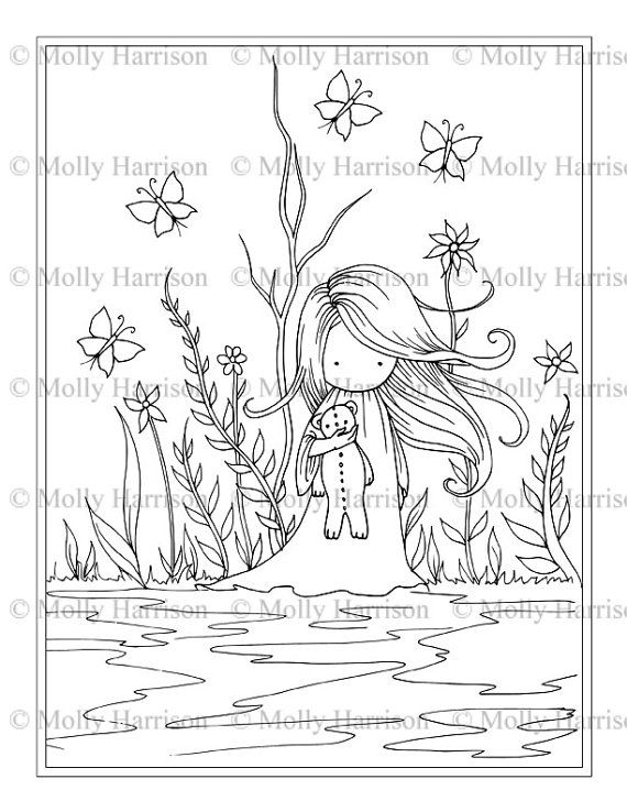Little Girl Holding Teddy Bear - Printable Coloring Page - Whimsical ...