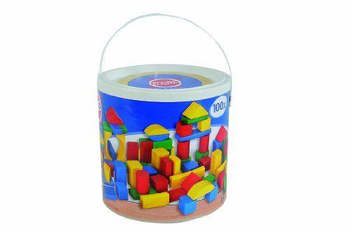 Heros – 10151 – Baril 100 cubes de construction en bois: Baril de 100 blocs de construction en bois de hêtre coloré Bois certifié PEFC Age…