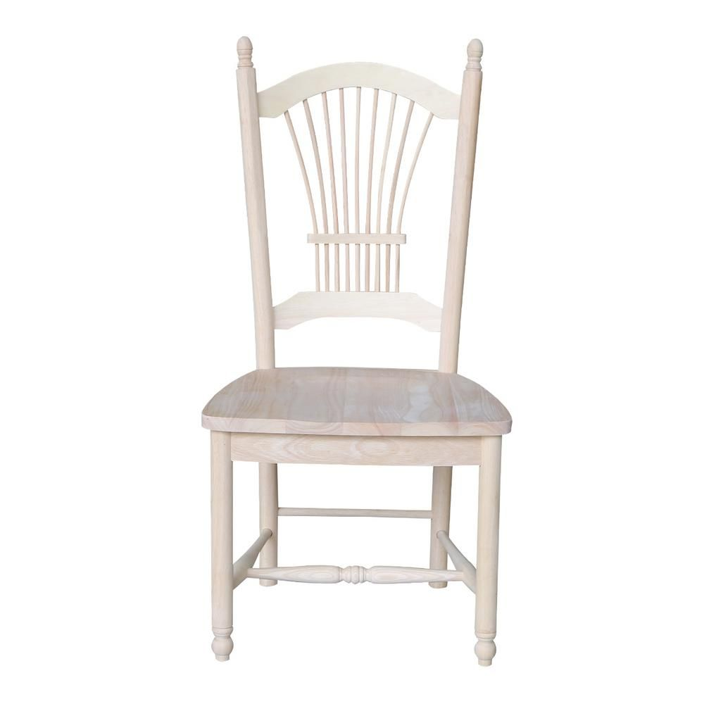 International Concepts Unfinished Wood Sheaf Back Dining Chair