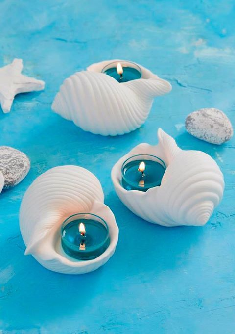PartyLite summer 2017. £24.95 for three porcelain tealight holders with intricate shell design. @pA