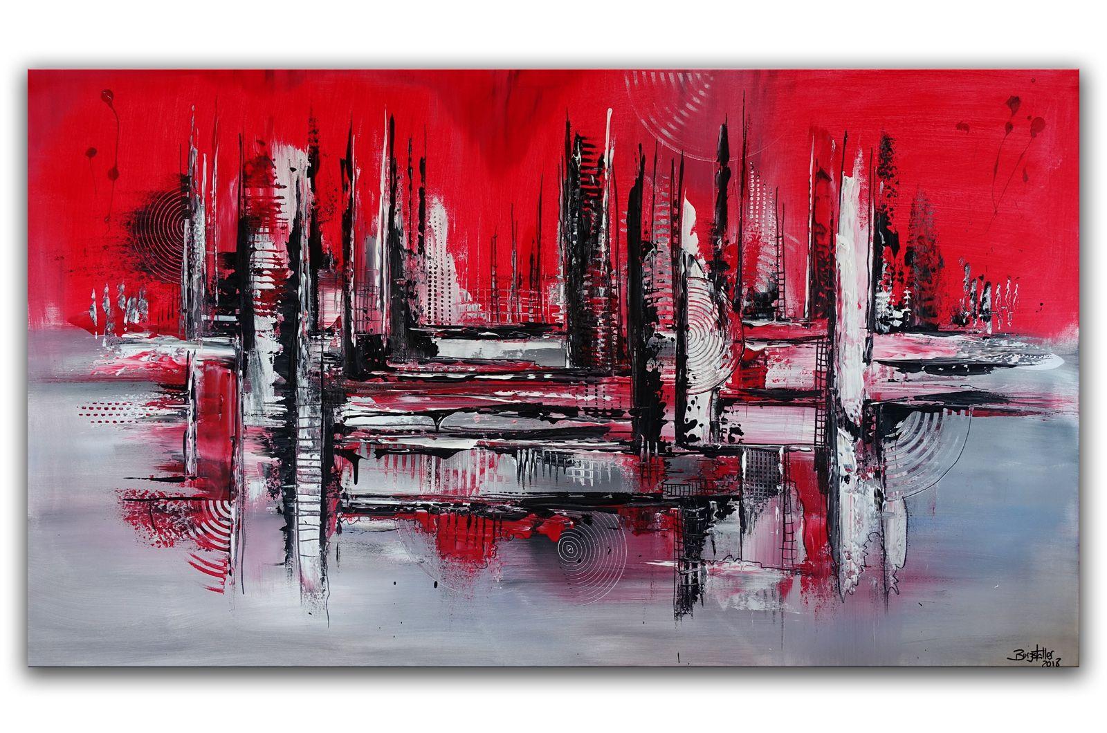 abstrakte skyline malerei rot wandbild stadtbild abstrakt bild grün kunst