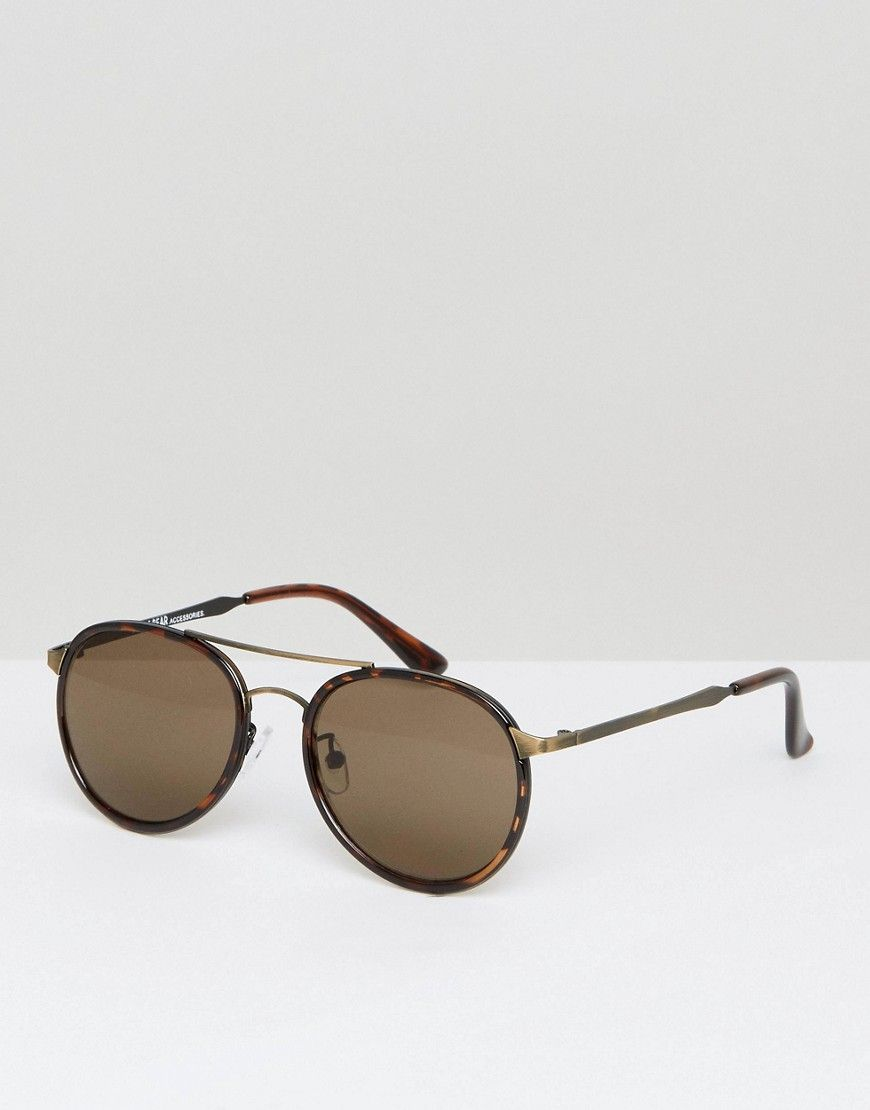 afd8b2bac7d Pull Bear Aviator Sunglasses In Tort And Gold - Gold