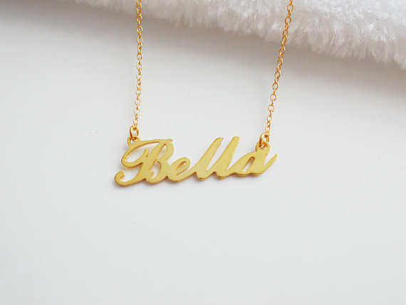 f06621ab0b8 Personalized Any Name Necklace,Name Necklace Gold,Children Script Name  necklace,Tiny Name Jewelry,Be