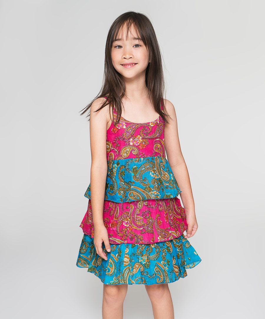 Look at this Fuchsia & Teal Paisley Layered Dress - Toddler & Girls on #zulily today!