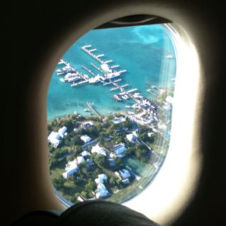 Flying over Valentines Marina in Harbour Island, Bahamas