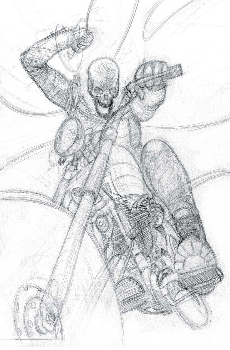 Thunderbolts #20 - Ghost Rider sketch by Julian Totino ...