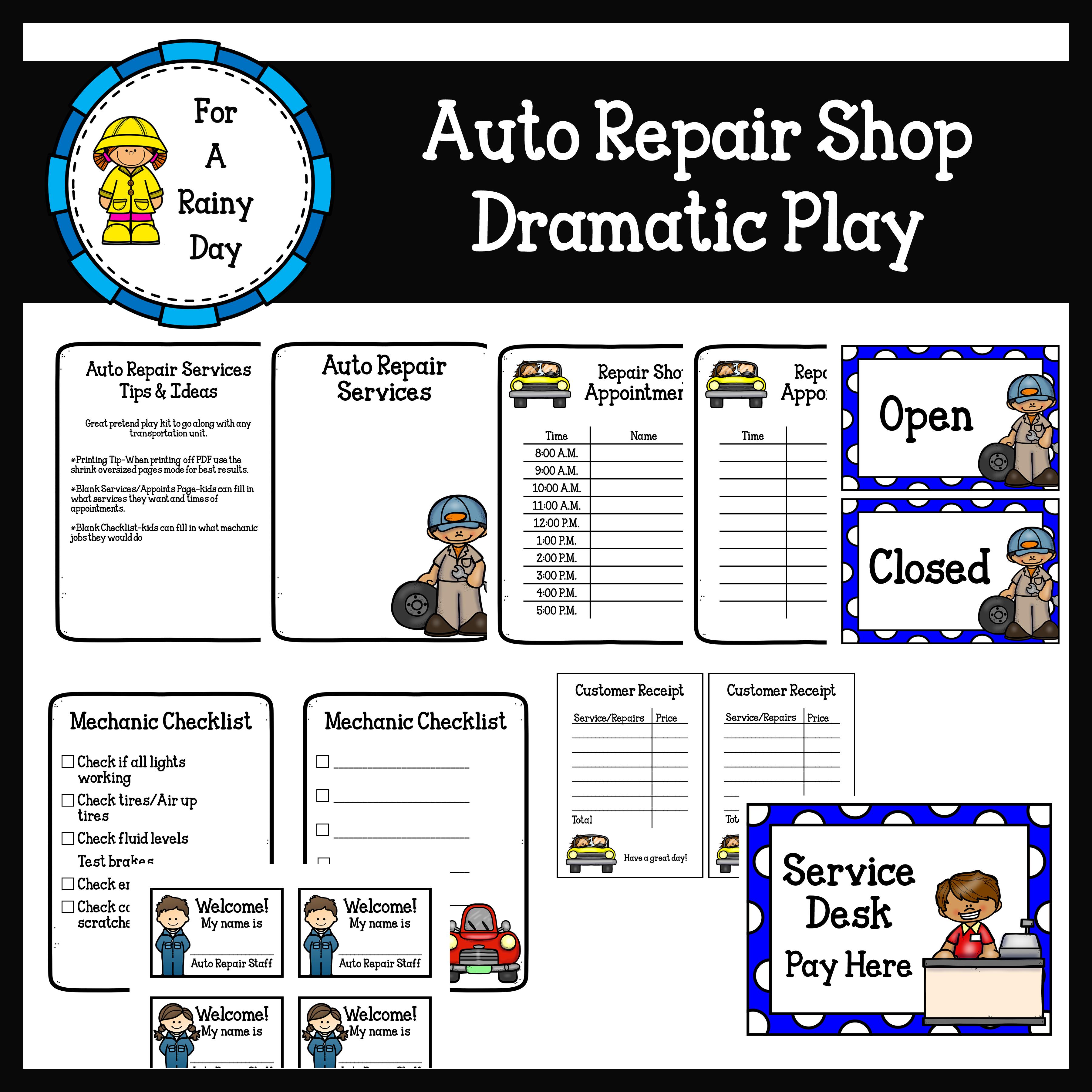Auto Repair Shop Dramatic Play Auto Repair Shop Auto Repair Dramatic Play