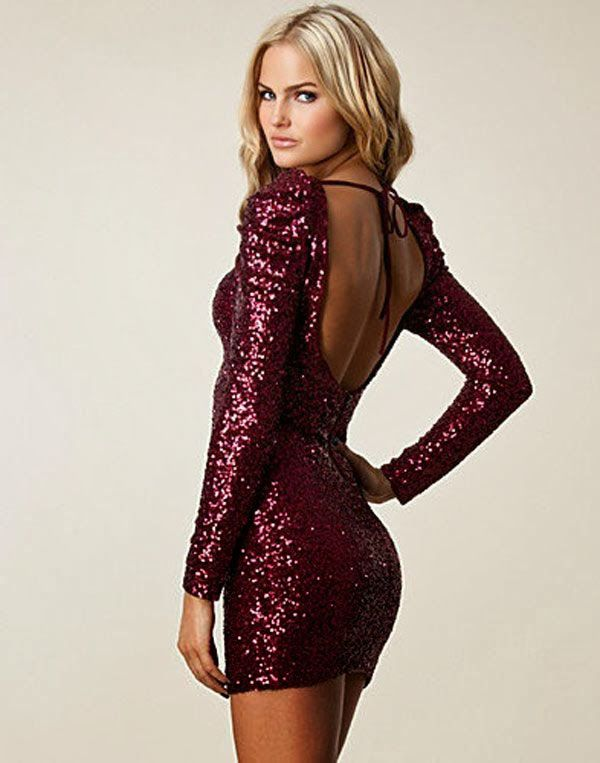 Red long sleeve sparkle dress  8be15c3b8