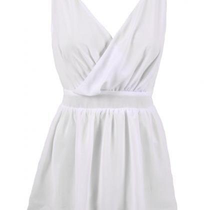 Fashion Cute White V-Neck Dress VG4..