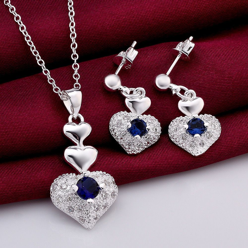 The legend of love sterling silver zircon women necklace earrings