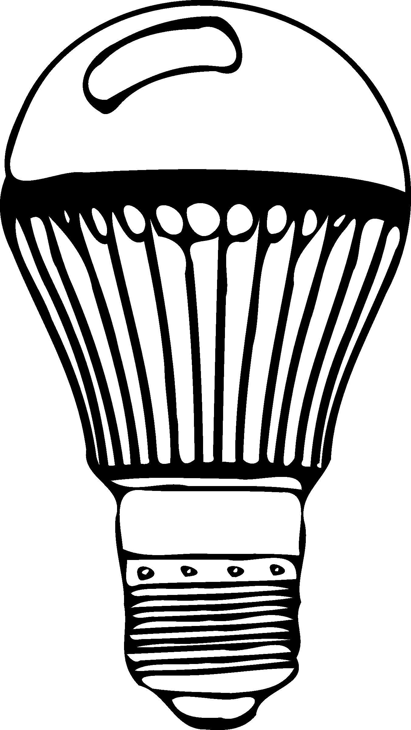 26++ Led light bulb black and white clipart information