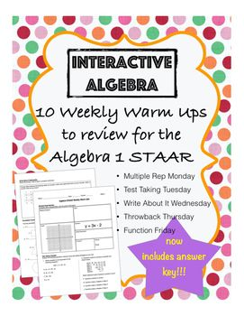 Algebra 1 STAAR Review Warm Ups - INCLUDES ANSWER KEY | Algebra 1
