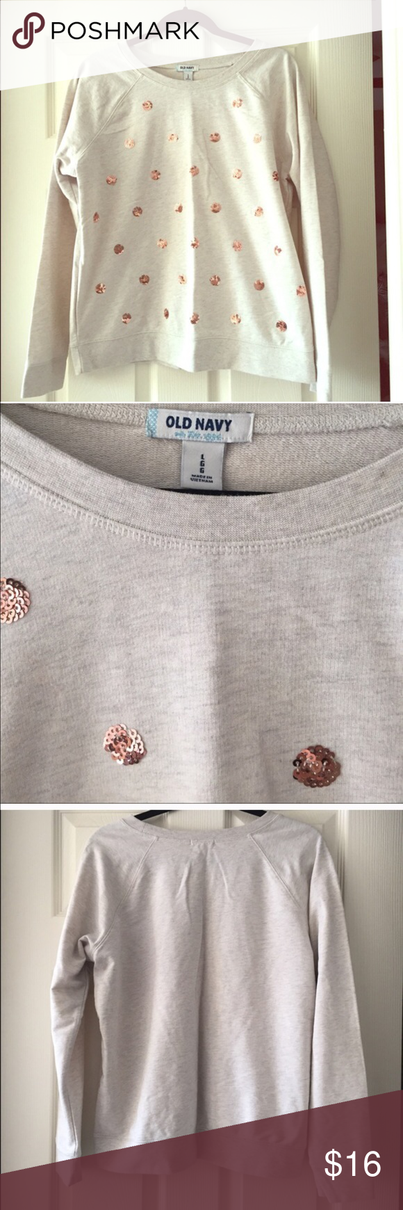Rose Gold Sequin Polka Dot sweatshirt Good condition! Oatmeal color. Old Navy Tops Sweatshirts & Hoodies