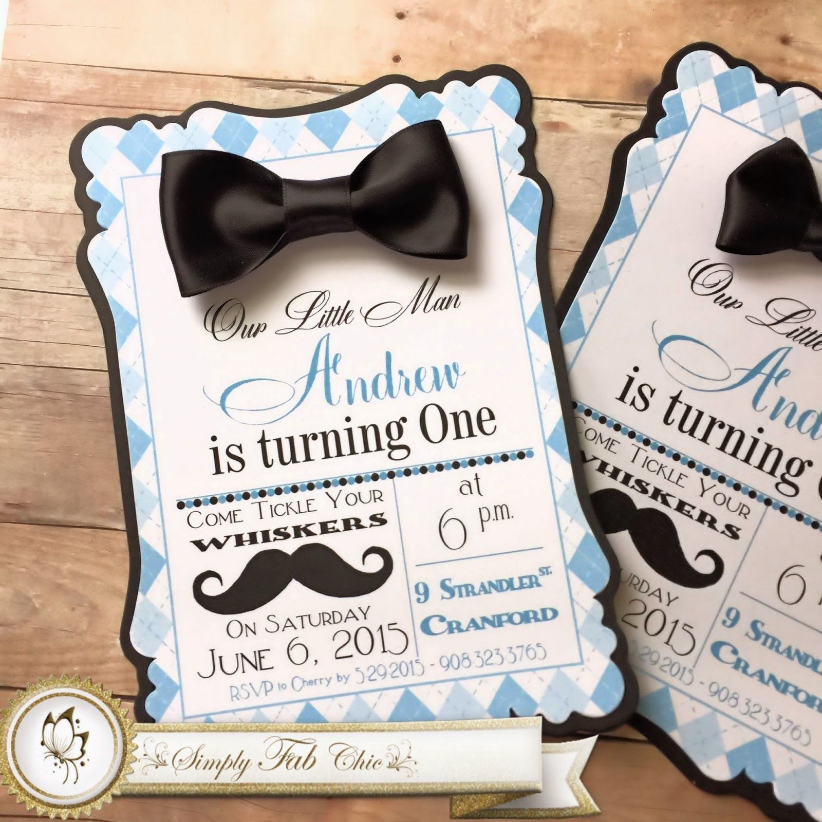 Little Man Mustache Bow Tie 1st Birthday Little Man Birthday Baby Shower Invitations 1st Birthday Party Invitations
