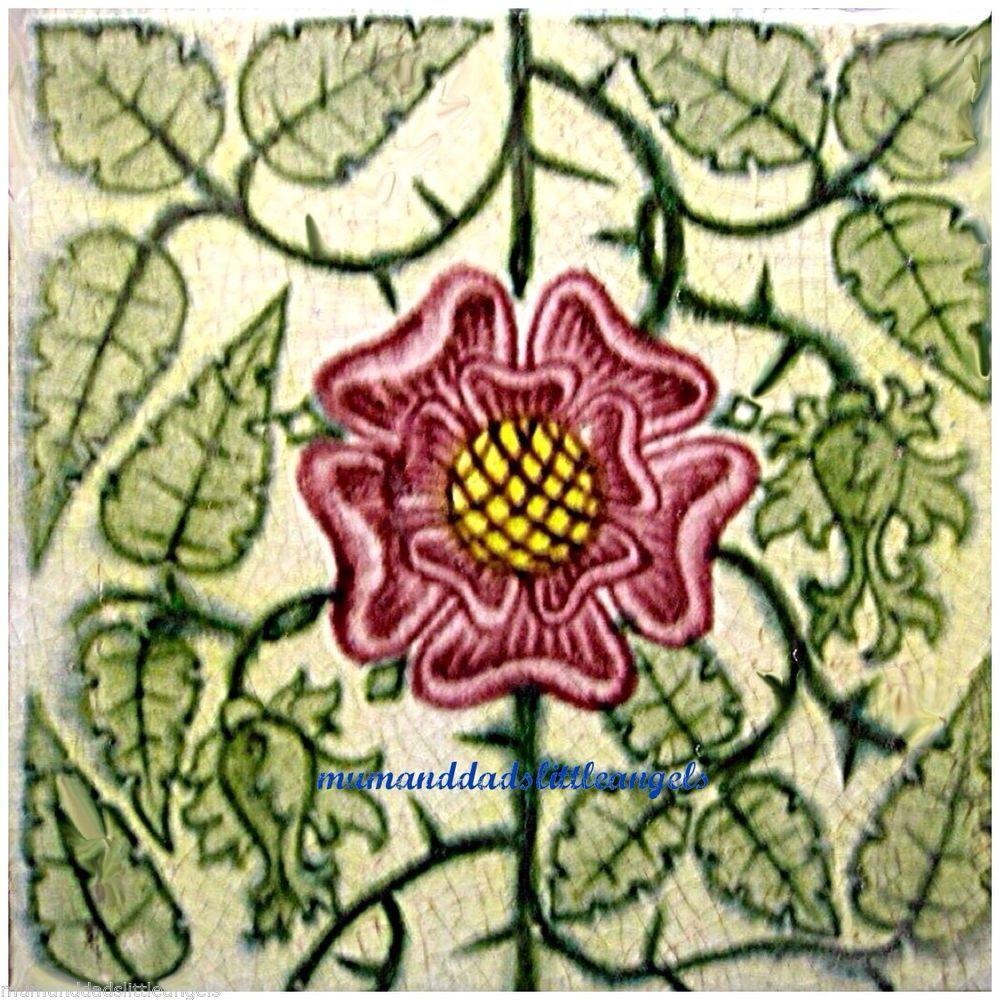 Beautiful william de morgan tudor rose design ceramic tile coaster beautiful william de morgan tudor rose design ceramic tile coaster dailygadgetfo Images