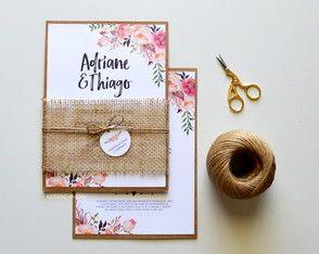 Convite rústico Adriane e Thiago