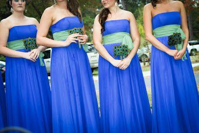 Peacock Colour Bridesmaid Dresses - Ocodea.com