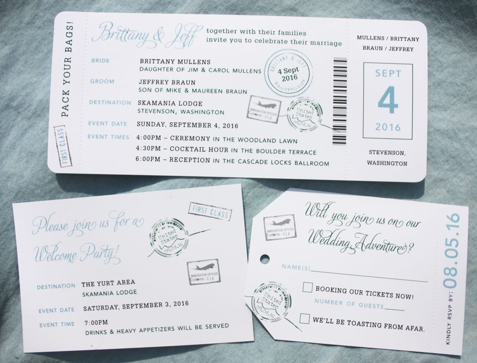 Hunter Green, Light Blue & Gray Passport Stamps Boarding Pass ...