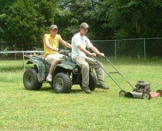 A great way to mow the lawn!!!!! hahaha. btw... You can also just duct tape the push mower to the front of the forewheeler and then you can mow the grass by yourself ( you might need a piece of wood to keep the mower from getting broke and folding under the fore wheeler thought!!!!!)