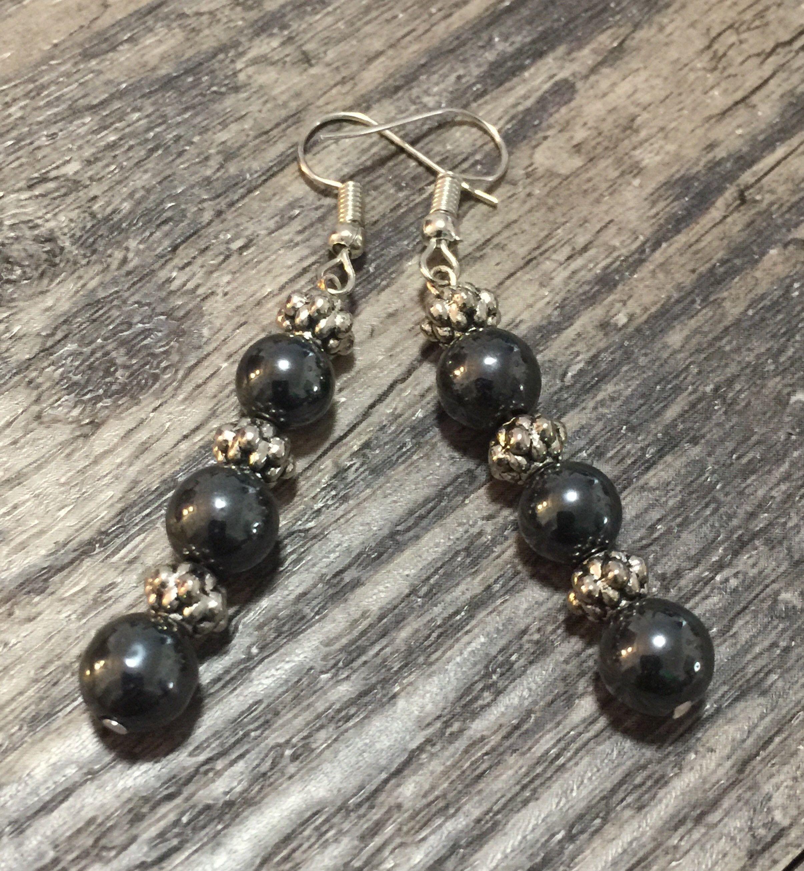 Gift for her Energy Black hematite long earrings Black stone earrings Hematite drop earrings Boho Hematite earrings Black earrings